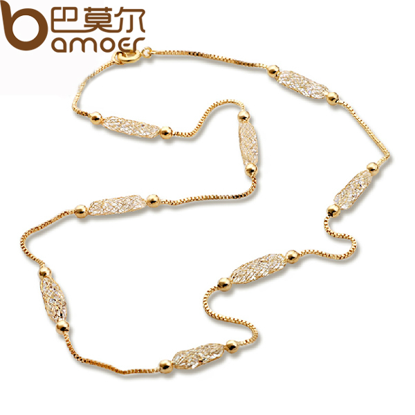 BAMOER Luxury Champagne Gold Color Chain Necklace Zircon Crys
