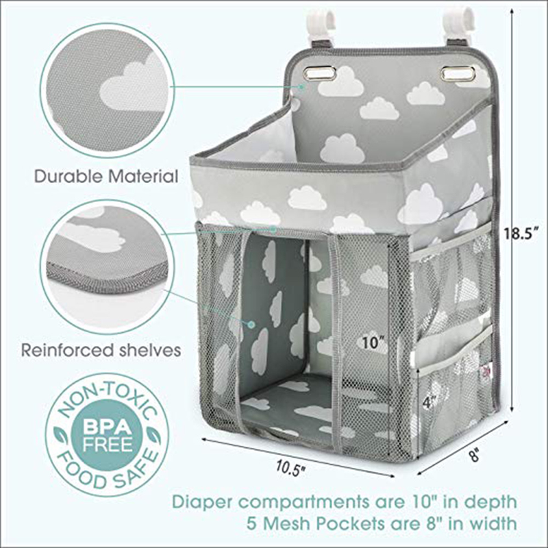 Baby Diaper Organizer Newborn Crib Hanging Storage Bag Waterproof Infant Cot Nappy Changing Pocket Pouch Baby Bedding Set