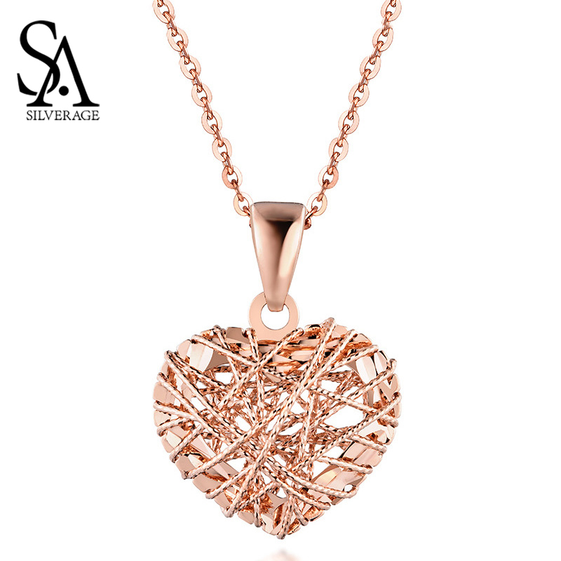SA SILVERAGE Pendant Necklaces Gold Necklace 18K Rose Gold/White Gold/Yellow Heart Shape Wind Women