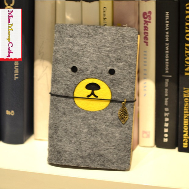 Cute Bear Journal Diary Fabric Cover Blank Kraft Papers Travel Planner Study School Notebook ruize soft cover leather traveler notebook blank kraft paper note book a7 a6 creative travel journal diary school supplies