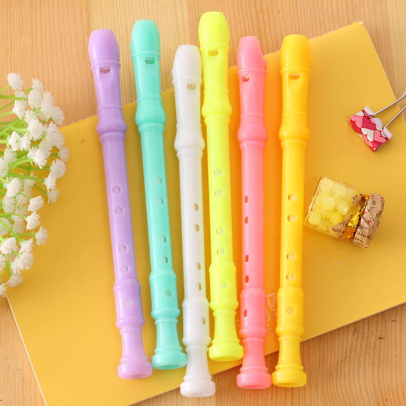 0.5mm Black Ink Creative Flute Plastic Gel Pen Cute Kawaii Candy Color Pens For Kids Korean Stationery Student 3168 1pcs a pens creative table lamp ballpoint pen plastic cool pens cute funny stationery for shool student 0 7mm teacher present