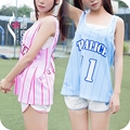 Girl Soft Sister Home Service 3 Pcs Cute Sporters Casual Vest Shorts Suit Shirt Sleeve Big Code Loose Student Suits Girls Set