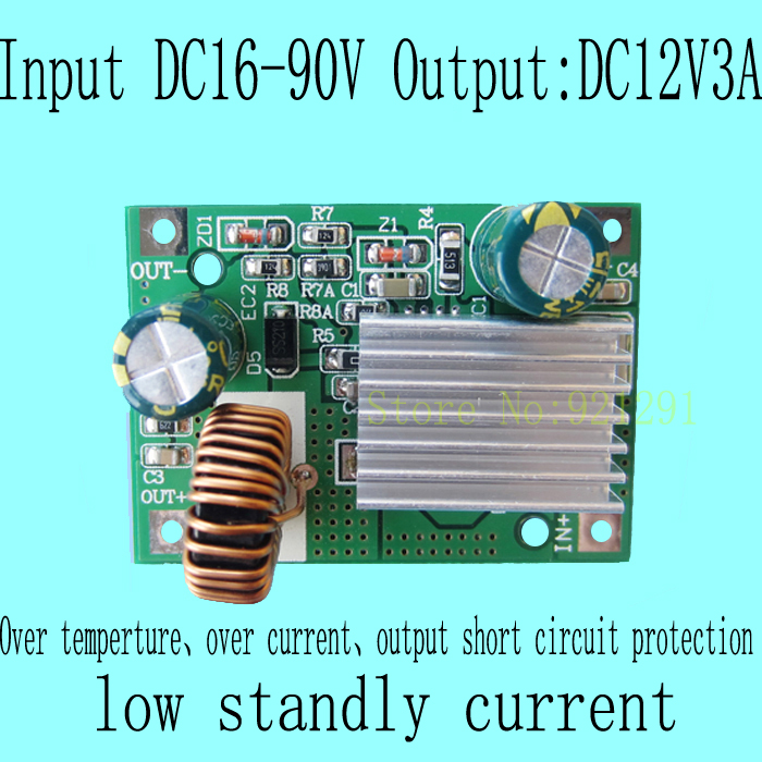 2pcs/lot New!DC-DC Step Down Converter Module DC 16~90V 80V 72V 60V 48V 24V to 12V 3A over-current protection 10pcs lot mp2307dn lf z mp2307dn mp2307 3a 23v 340khz synchronous rectified step down converter