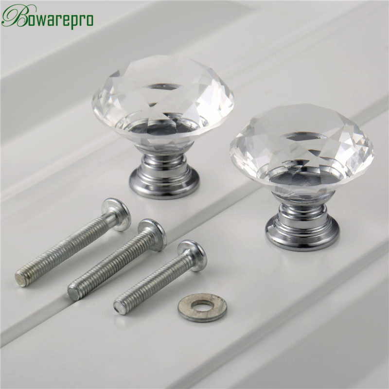 bowarepro 30mm Diamond Crystal Glass kitchen cabinet accessories hardware furniture door knob handle accessory 2 knobs+6 Screws