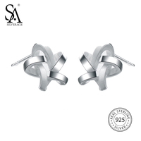 SILVERAGE 925 Sterling Silver Jewelry For Women Weaved Star Stud Earrings Mother S Day Free Shipping