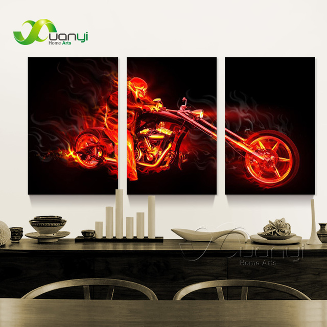 3 Panel Abstract Motorcycle Motorbike Canvas Poster Painting Wall Art  Modular Picture For Bed Room Modern