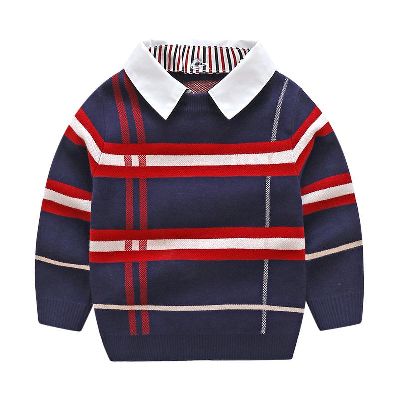 HTB1C E X2LsK1Rjy0Fbq6xSEXXaL - 2018 Autumn Boys Sweater Plaid Children Knitwear Boys Cotton Pullover Dual Collar Sweater Kids Fashion Outerwear Toddler