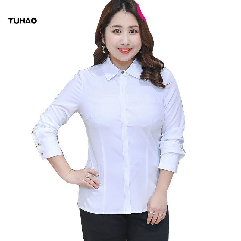 TUHAO Plus Size 10XL 9XL 8XL 7XL Women   Blouses     Shirt   Formal   Blouse   Spring White   Shirts   Female Office OL elasticity   Blouse   YN14