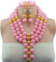 Amazing African Beads Jewelry Set Pink Ball Beads Necklace Set Nigerian Wedding African Jewelry Set