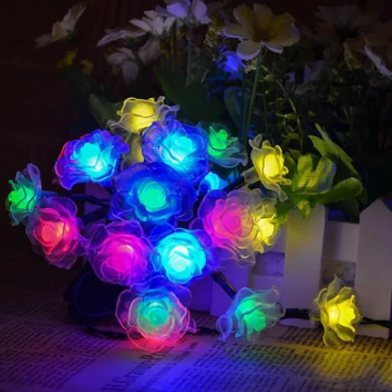 15.74FT 20 LED Solar Powered LED Christmas String Lights Rose Party Decoration Multi-color solar powered energy saving 60 led string light 10 meter multi color leds