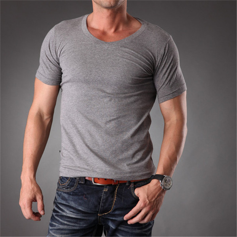 search for newest sells promotion US $13.91 51% OFF|RL Mens Body Muscle Fit Slim Fit Plain Blank t shirts Men  Stretchy White V Neck Good Quality 2019 Summer Mens Clothes MT 1353-in ...