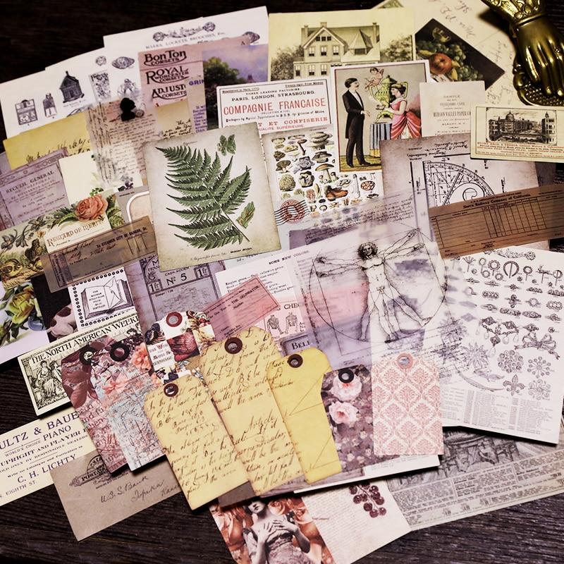 58 stücke Alte Zeitung Seite Vintage Aufkleber für Scrapbooking Glücklich Planer/Karte, Der/Journaling Projekt NO3