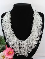 Charming! Wedding White Crystal @ Silk Necklace