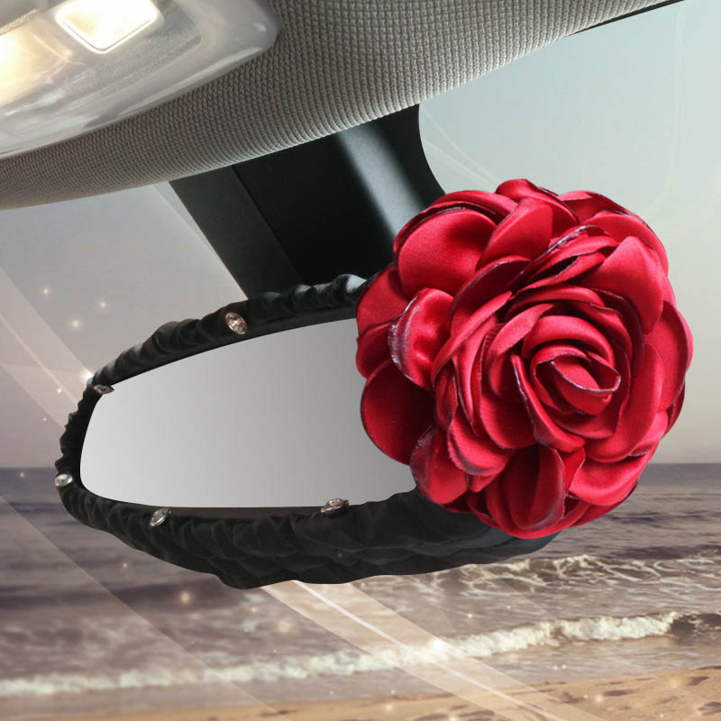 Red Rose Flower Car Interior Accessories Rear View Mirror Cover Leather Auto Rearview Mirror Decoration For Women and Girls