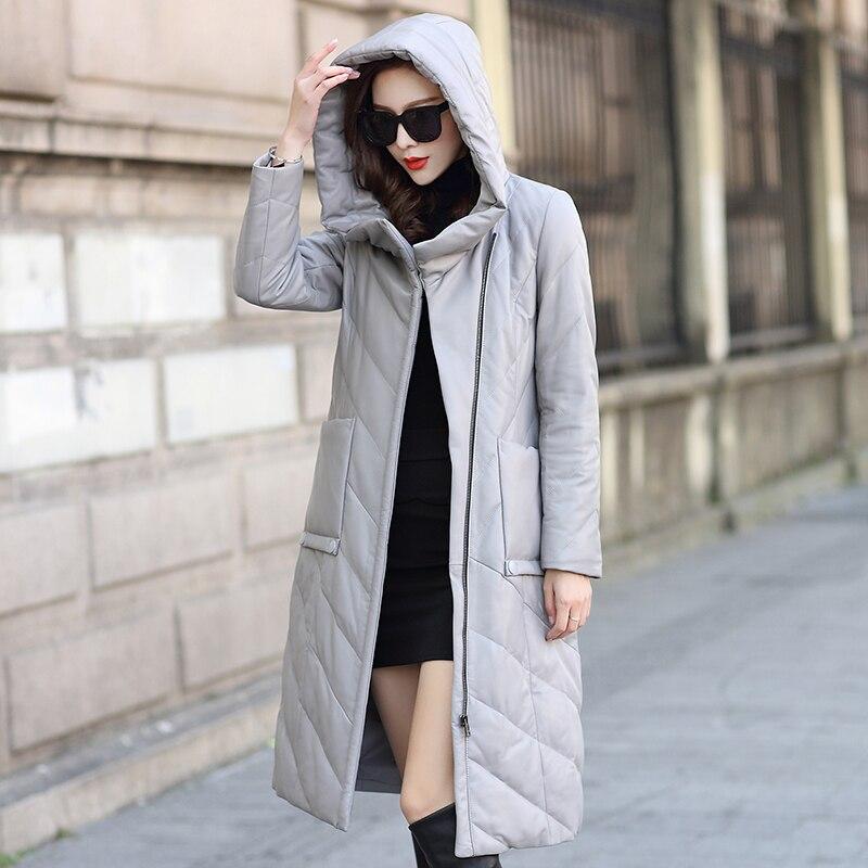 black Casual Supérieure De M Femmes Vestes 5xl Qualité Hiver Gray Manteau À Naturel Taille Long Peau Chaud Vers Véritable En Mouton Cuir Capuchon Veste La Le Bas Plus wA0pIqx0