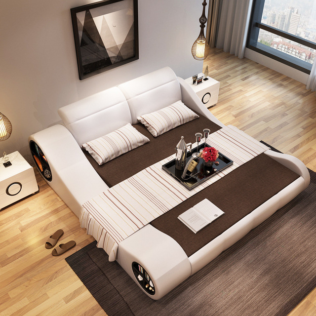 180cmx200cm 2017 Modern Designer White Leather Soft Double Bedroom Furniture With Storage