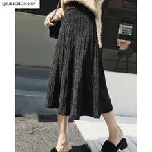 가을 겨울 긴 니트 스커트 여성 한국어 패션 실버 Lurex 빛나는 높은 허리 Pleated 스커트 미디 길이