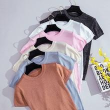 Shintimes 2019 Summer Knitted T Shirt Women Shiny Casual Solid T-Shirt Korean Tops O-Neck Tee Femme Slim Harajuku Tshirt