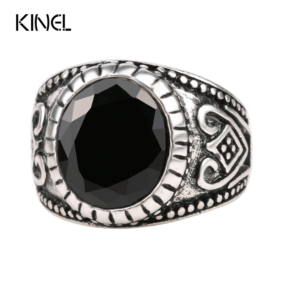 vintage black mens rings round silver plated medieval popular jewelry punk rock ring for men party - Medieval Wedding Rings