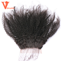 Afro Kinky Curly Silk Base Lace Closure 100 Human Hair Mongolian Remy Hair Natural Black Color