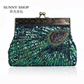 SUNNY SHOP  2016 New Vintage beaded handbag peacock paillette wallet clutch bridal wedding bag Fashion women evening bag 40ZA
