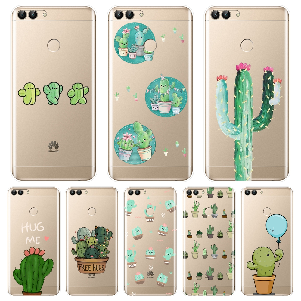 Cactus Floral Soft Back Cover For Huawei P20 Lite Pro P9 P10 Plus P Smart Phone Case Silicone For Huawei P7 P8 P9 Lite Mini 2017