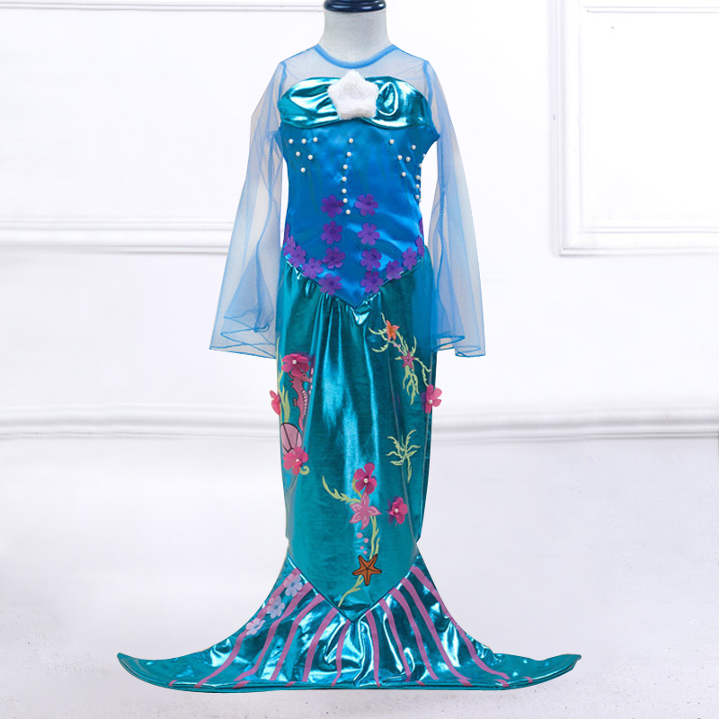 Retail Cartoon Dress Mermaid Baby Girls Princess Dress The Little Mermaid Ariels Halloween Party Girls Ball Gown Dresses MRY001 вечернее платье mermaid dress vestido noiva 2015 w006 elie saab evening dress