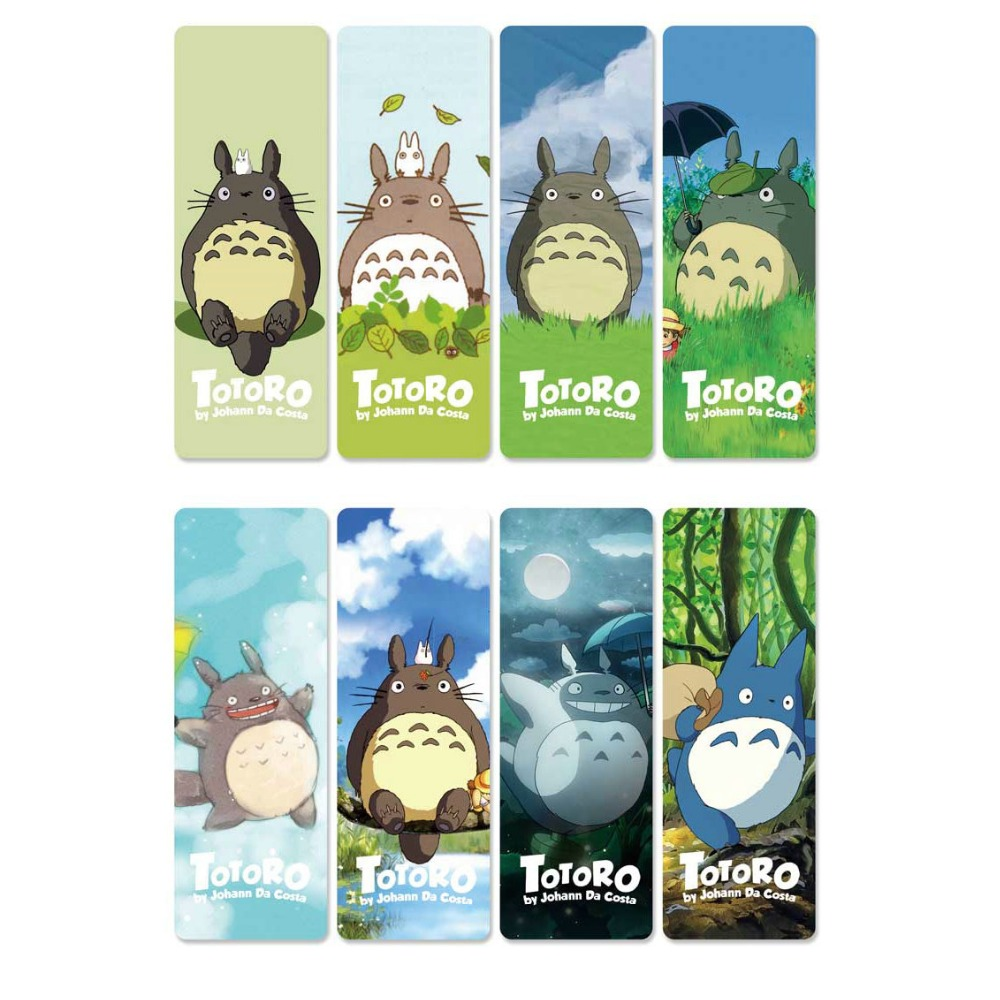 8pcs My Neighbor Totoro Anime Bookmarks Waterproof Transparent PVC Plastic Bookmark Beautiful Book Marks Gift