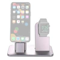 2 in 1 Aluminum Alloy Metal Holder Mobile Phone Charger Stand for iPhone For iwatch Docking Station for iWatch Desktop Holder