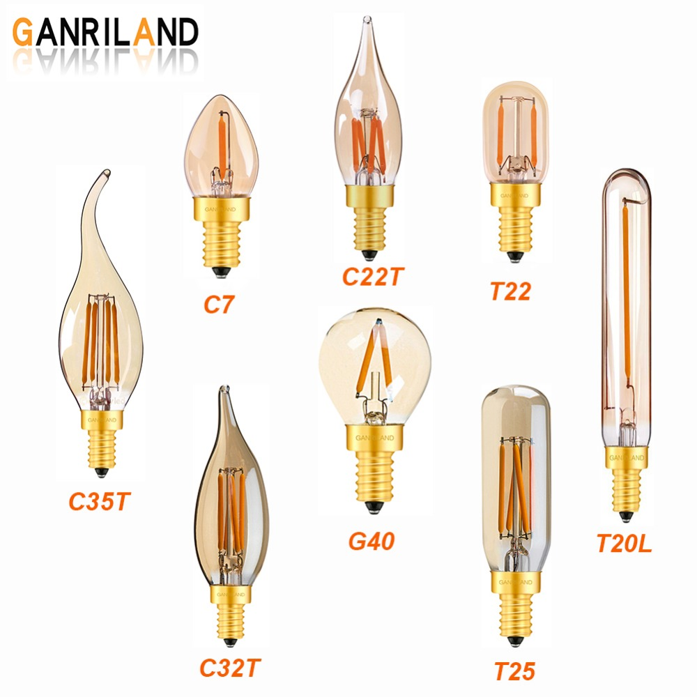 GANRILAND Led E14 Dimmable Gold Mini Tubular Chandelier Night Lamp 0.5W 1W 2W 2200K E12 Vintage Globe LED Filament Light Bulbs led gold deco chandelier bulbs candle light e14 85 265v 5w lamps