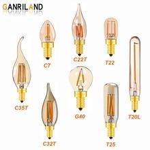 Gold Tint  Mini Tubular Chandelier Night Lamp 0.5W 1W 2W 2200K E12 E14 Base Vintage Globe LED Filament Light Bulb Dimmable