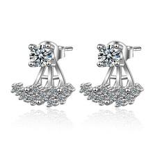 Promotion 925 sterling silver fashion shiny cz zircon flower women gift ladies`stud earrings jewelry wholesale drop shipping
