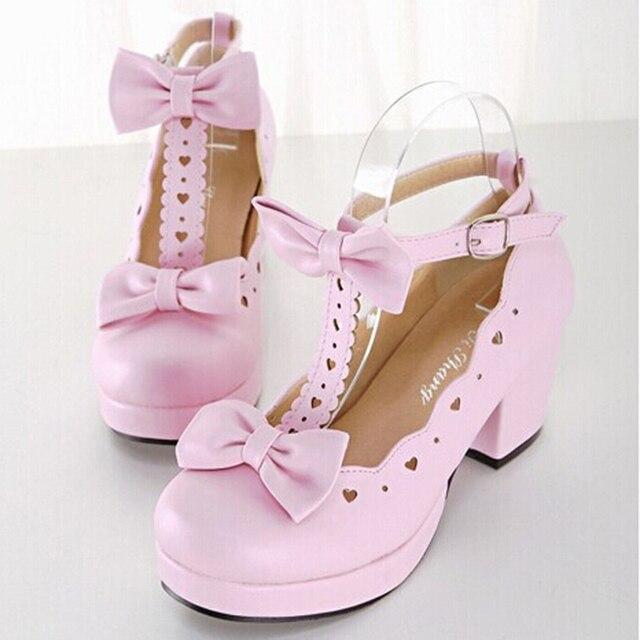 Лолита высокие каблуки белый розовый черные косплей обувь сладкий милые девушки обувь