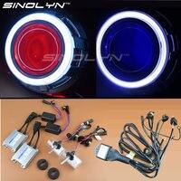 SINOLYN Metal 3.0 inches D2S HID Bi xenon Headlight Lens Projector LED Angel Eyes Halo Demon Devil Eyes Kit H4 For Car Retrofit