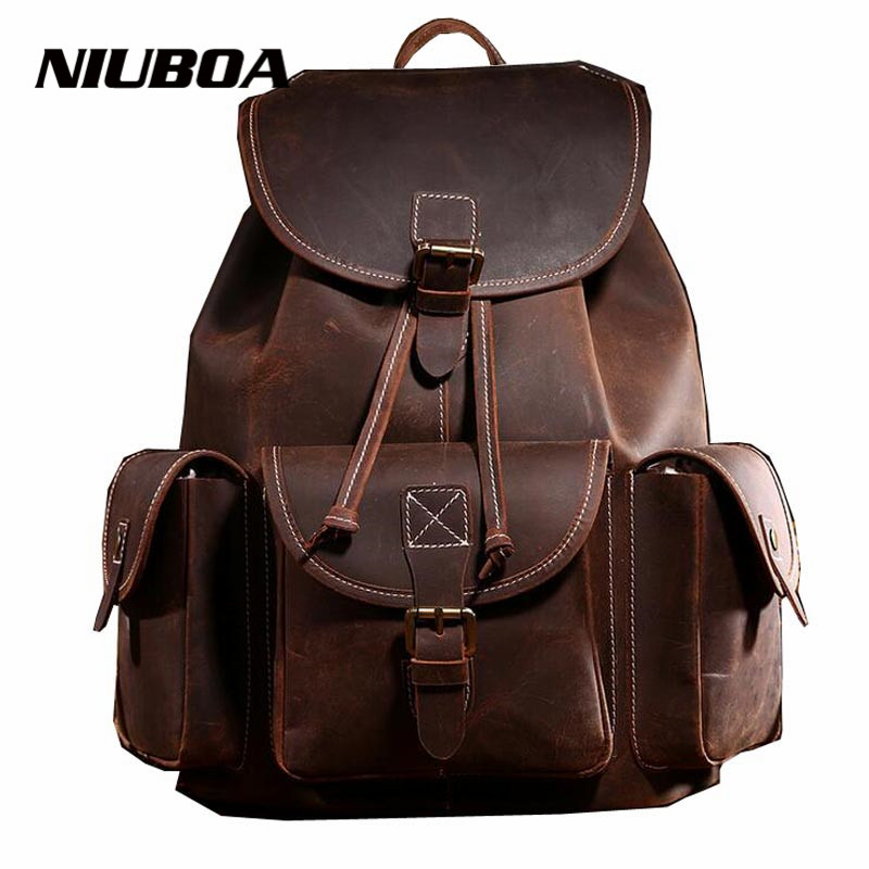 NIUBOA Genuine Leather Woman Backpacks Fashion 100% Cowhide Leather Backpack for Lady Solid High Quality Crazy Horse Leather Bag 2016 genuine leather woman backpacks fashion cowhide split leather backpacks for lady solid high quality leather woman bag