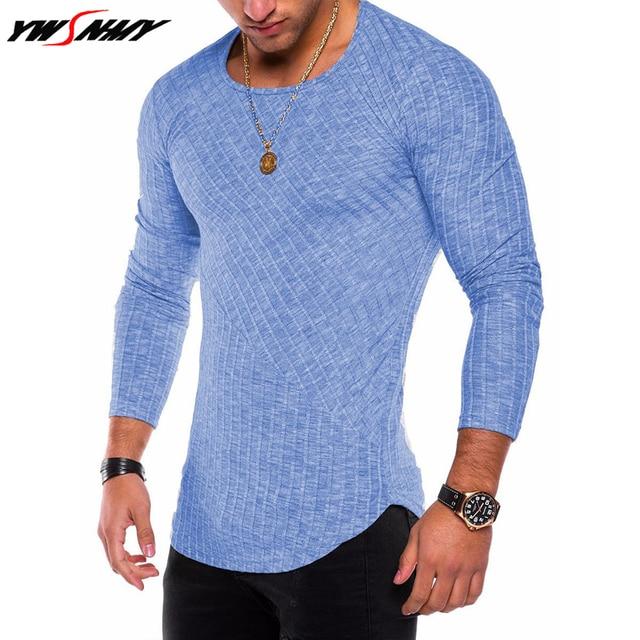 6d7b479875e Mens High Street T-shirt wholesale fashion brand slim fit striped t shirts  men summer long sleeve oversized arc hem design tops