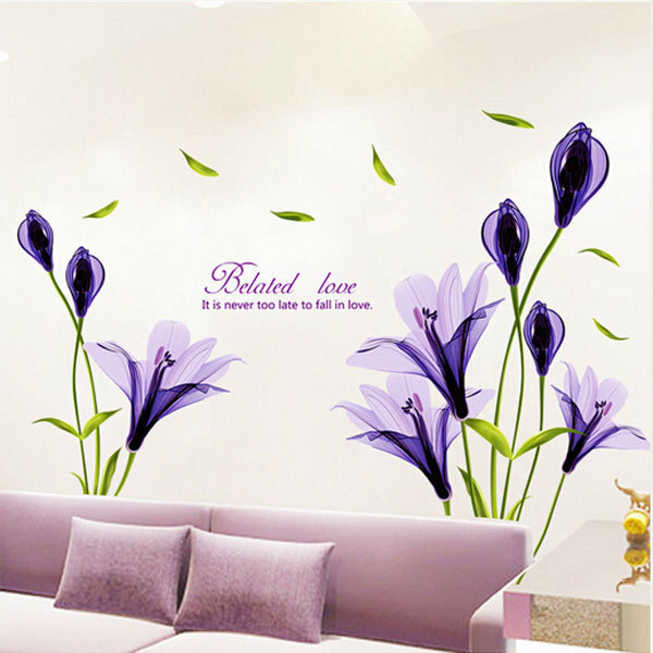 Purple Romantic Big Flower Wall Stickers Home Decor: Large Purple Flower Mural Wall Sticker Vintage Home Decor