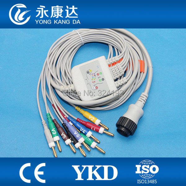 KENZ PC 104 EKG cable with integrated 4.7 k ohm Resistance 10 leadwires Banana 4.0,AHA