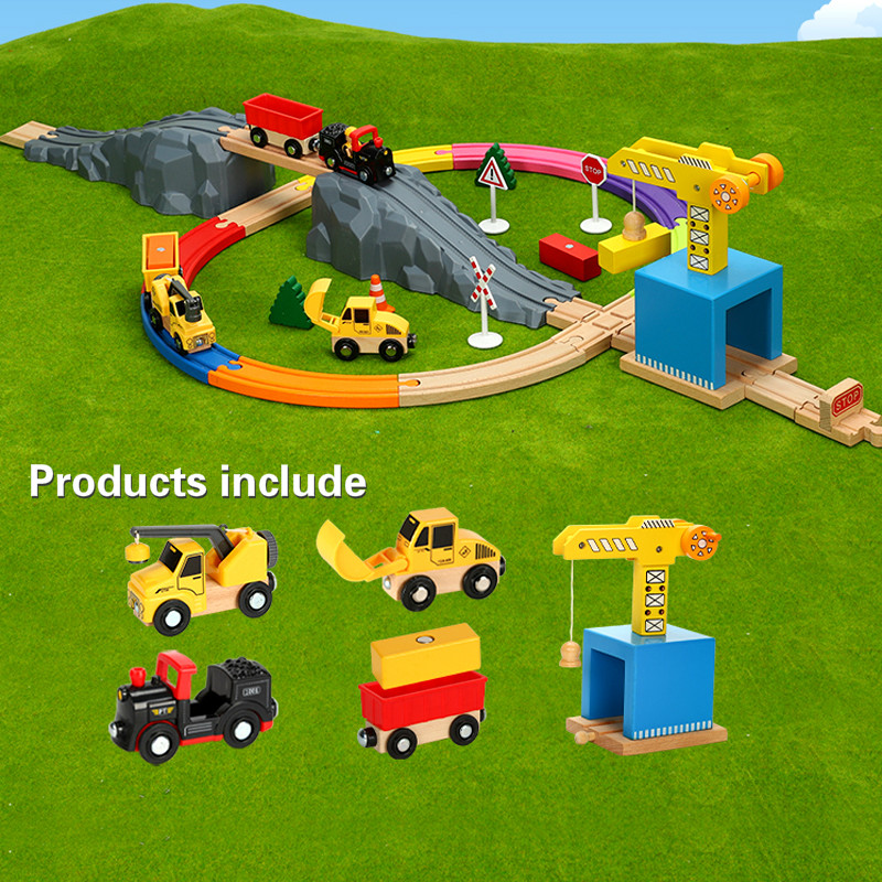 Magnetic Car Model Slot Puzzles Wooden Railway mine site rail transport series train toy compatible with Brio wooden track ToysMagnetic Car Model Slot Puzzles Wooden Railway mine site rail transport series train toy compatible with Brio wooden track Toys