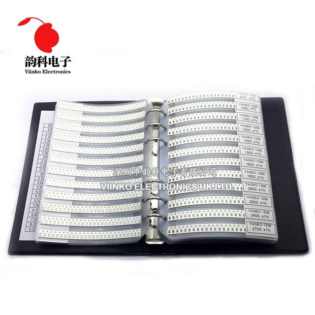 1206 1% SMD Resistor Sample Book 1/4W 0R 10M 170valuesx25pcs=4250pcs Resistor Kit 0R~10M