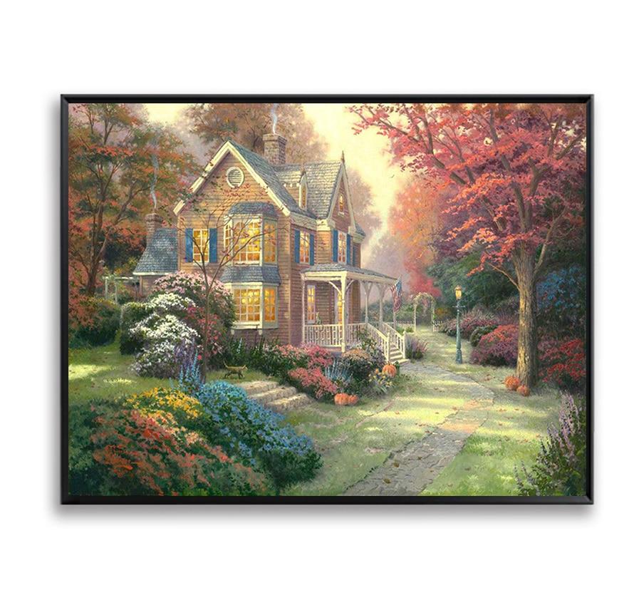 Mur Photos Peinture Par Numeros Antumn Jardin Maison Arbre Bricolage