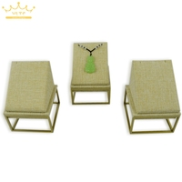 Free Shipping Jewelry Display High Quality Stainless Steel Linen Jewelry Stand Beige Necklace Pendant Display Window Showcase