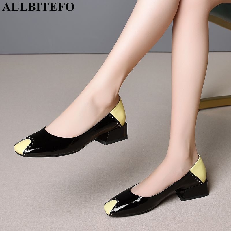 ALLBITEFO Large Size:34-41 Full Genuine Leather Square Toe Thick Heel Women Shoes Mixed Colors Office Ladies Shoes Women Heels