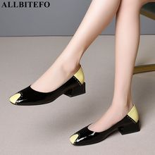 ALLBITEFO large size:34 41 full genuine leather square toe thick heel women shoes mixed colors office ladies shoes women heels