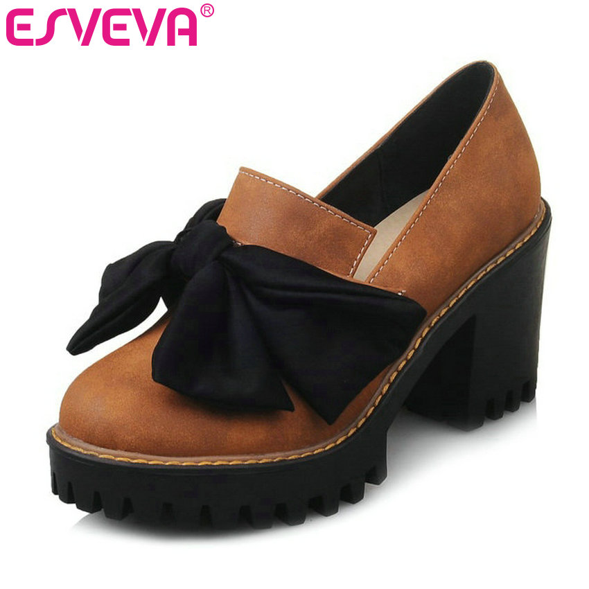 ESVEVA 2017 Sweet Style Square Heels Platform Pumps Spring Autumn Casual Shoes Bow Tie High-heel Wedding Shoes Black Size 34-43 siketu 2017 free shipping spring and autumn women shoes sex high heels shoes wedding shoes sweet lovely pumps g126