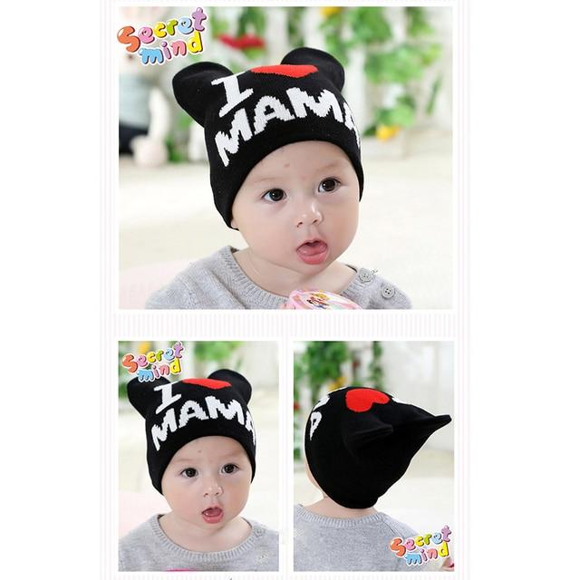 € 4.11 |Carta Sombreros Del Bebé I Love MaMa Caps Toddler Boy Skullies  Corazón Capó sombrero Infantil Del Sombrero Del Oído de Gato de Invierno ...