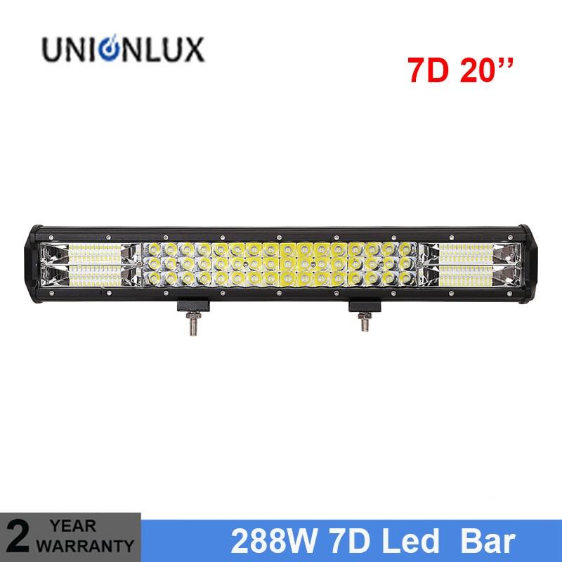 7D 3 Row LED Light Bar Offroad Led Bar Combo Beam 20 288w Led Work Light