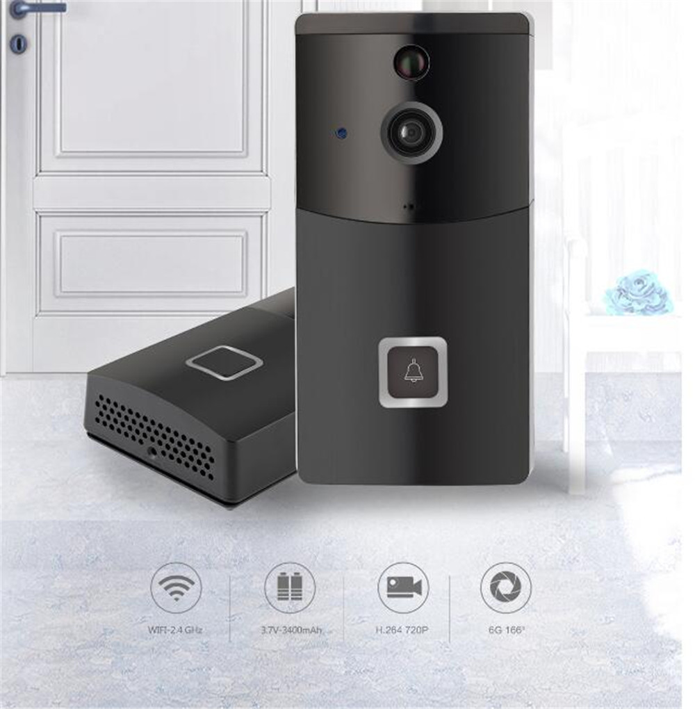 Wireless WIFI 720P Doorbell  166 Degree Wide Angle Video Door Phone