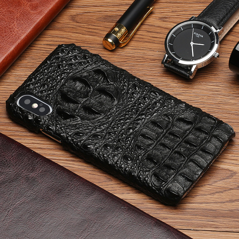 Luxury Genuine Leather Phone Case For iPhone X 10 7 8 6 6S Plus 8plus 7plus Crocodile skull texture Original Cowhide Back Cover