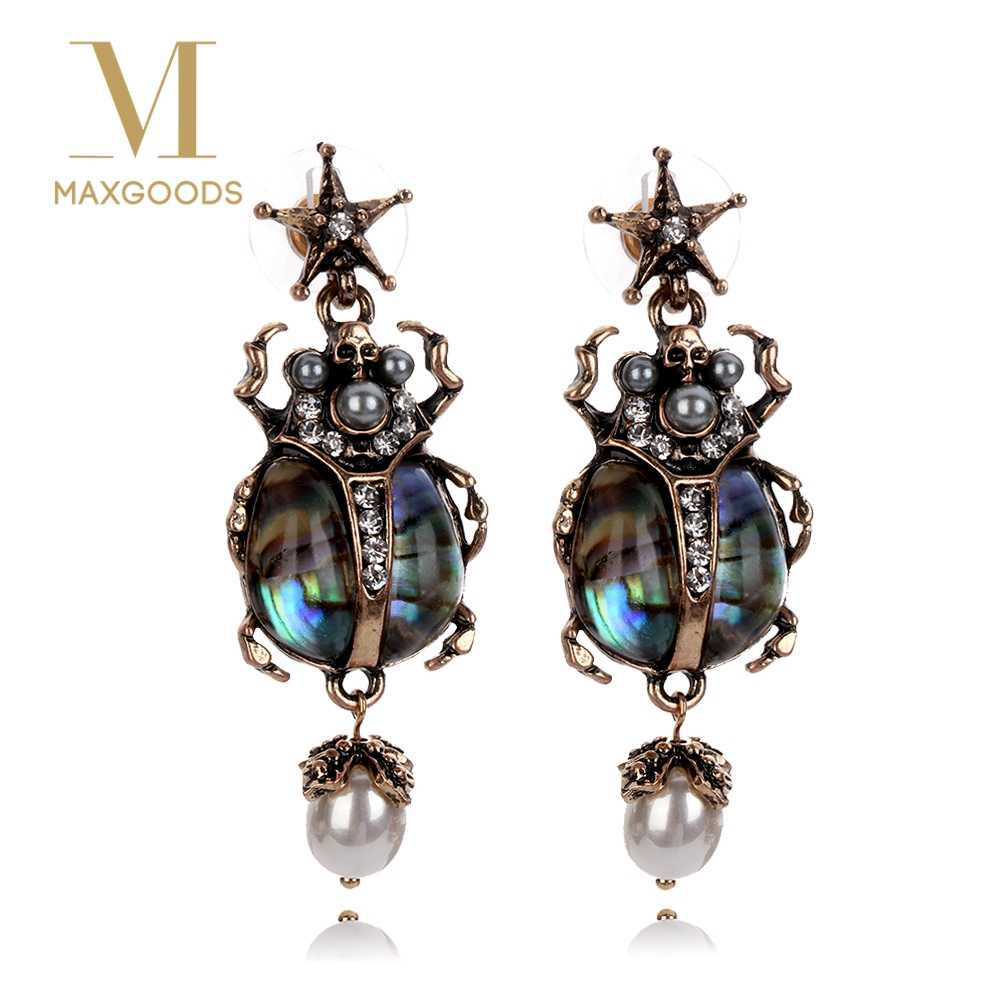1 Pair Vintage Earring for Women Retro Alloy Star Insect Skull Pearl Drop Earrings Fashion  Crystal Dangle Earring Jewelry